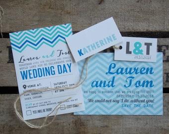 Rustic Vintage Wedding Invitations Blue Zig Zag Set