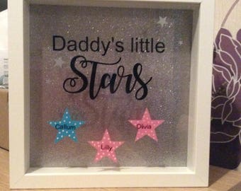"""Silhouette glitter box fame """"daddy's little stars"""" personalised"""