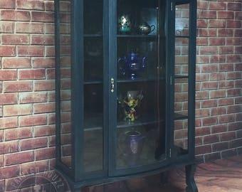 Antique Curio Cabinet on Casters. Deep Blue.