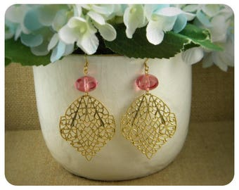 Pink Glass Bead and Brass Filigree Earrings