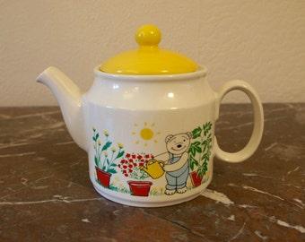 Vintage Ceramic 1980s Teddy Bear's Garden Teapot With Yellow Lid Retro Kitsch Kitchen