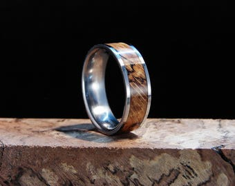 Spalted Oak Burl and Titanium Inlay Ring, Oak inlay ring, Spalted Oak ring, Oak Burl ring wedding band, wood inlay ring