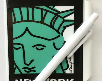 Mini Note Book Statue Of Liberty New York City Memo Journal Pad and Pen Set