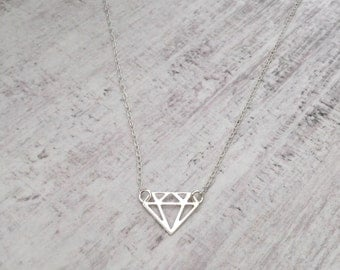 Sterling Silver Geometric Diamond Necklace/Minimalist/Everyday/Aztec/Shape/Choker/Long/Sterling Silver/Bridal/Gift