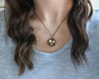 Gemstone Birds Nest Necklace - Italian Onyx Necklace, Boho Necklace, Spring Jewelry, Bronze Nest, Mom Grandma Necklace, Family Jewelry