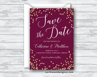 Maroon and Gold Save the Date Announcement Save our Date Burgundy Save the Date Gold Bling Wine Themed Save the Date Elegant Boho - 5x7