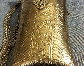 Beautiful Long White Brass Metal Purse 7 1/2 X 5 (24  inches long with chain)