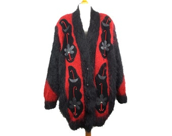 Vintage Mohair Cardigan 1980s Hand Knitted Button Front Fluffy Hairy Oversized Slouch Black Red 80s Size UK L Large