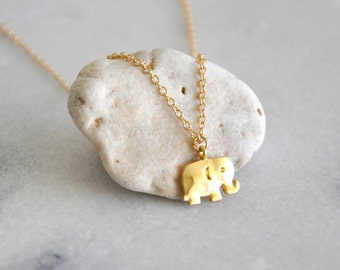 Cute tiny gold elephant necklace | Gold plated | On a chain