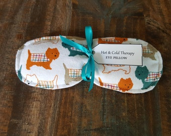Eye Pillow - Hot & Cold Therapy - Rice Filled - Snuggle Puppies (Flannel)