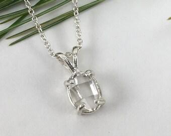 "5x8mm Herkimer Diamond Pendant - Herkimer Jewelry - Herkimer Pendant - Herkimer Diamond Necklace - 16"" Sterling Silver chain"