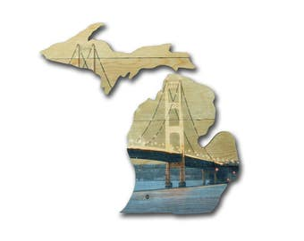 Michigan Map | Mackinac Bridge on Wood | Custom Photo | Photo on Wood | Picture on Wood | Rustic Home Decor | Wood Sign | Wall Art