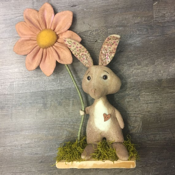 Rustic Handmade Bunny and Flower