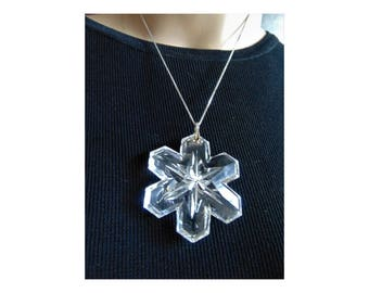 "2 1/4"" clear chrystal cut glass star pendant necklace 925 chain"