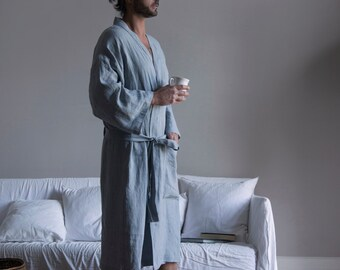 Cloudy Grey mens soft linen bathrobe. Pre washed fabric. One pocket.