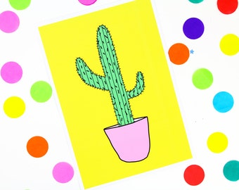 Colourful cactus print A4/A5