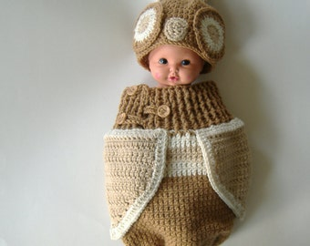 Crochet Owl Cocoon, Woodsy Light Brown, Baby Owl Cocoon Set, Neutral Baby Outfit, Baby Crochet, Ready To Ship