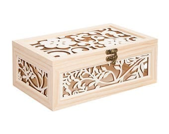 Unfinished Wood Box with Laser Cut Flower Pattern - 10.375 x 4.0625 in    30021200