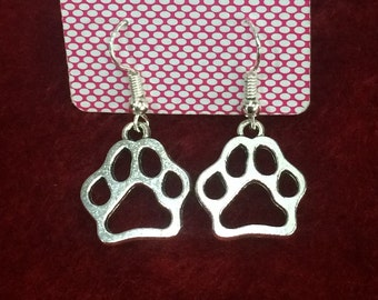 Tibetan Silver Paw print Drop Earrings