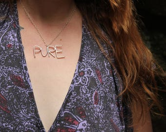 Pure Sterling Silver Word Necklace