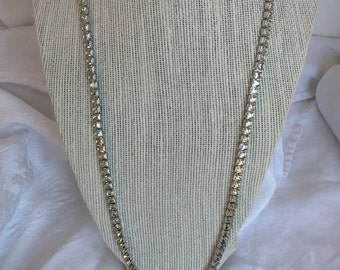 Les Bernard clear Rhinestone and silver tone necklace