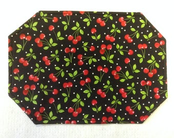 RETRO CHERRY PLACEMATS/ Reversible/Set of 4 or 6/Polka Dot/Matching Heart Coasters