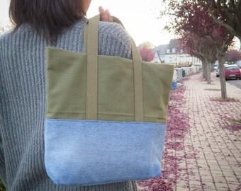 Handbag KIWA denim wash, cotton khaki and khaki handles - A4 size