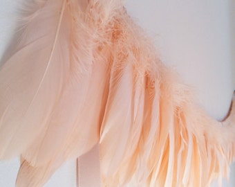 Peach Feather Garland, garland for wedding, wedding decor, Baby Shower, garland for nursery, nursery decor, garland for girls, feathers