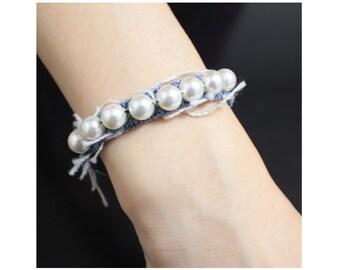 Pearl denim bracelet, Vintage style bracelet