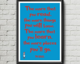 Dr Seuss Quote print - 'The More that you read' - inspiration wall art kids motivation poster print - Digital Download