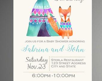 Woodland Baby Shower Invitation, Tribal, Aztec Style Invitation, Forest Friends Invitation, Fox Baby Shower Invitation - INSTANT DOWNLOAD