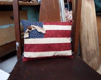 Primitive Flag Pillow, Primitive Americana Pillow Tuck, Pieced American Flag Pillow, Chair Pillow, Patriotic Pillow, 4th of July Accent