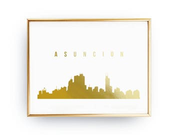 Asuncion Skyline, Asuncion Print, Real Gold Foil Print, Office Decor, Illustration Art Print, Office Art, Paraguay Art, Paraguay Cityscape