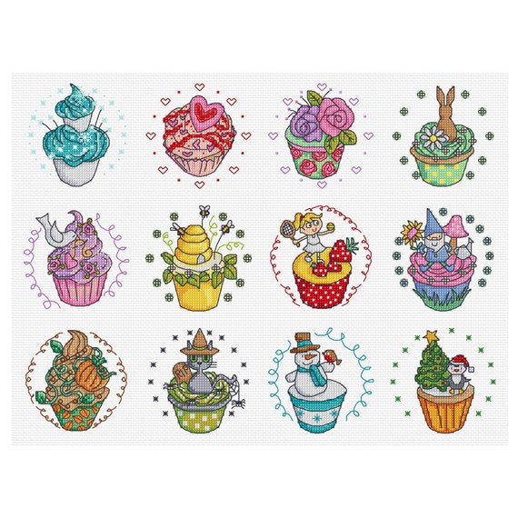 another year in cupcakes - twelve cross stitch patterns - DJXS 2203