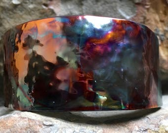 Rich Jeweltone Colors Flamed Painted Copper Bracelet