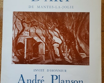 French Art Exhibition Poster / Andre Planson / 1973