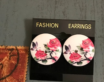 Large Flowers with Butterfly Button Post Earrings