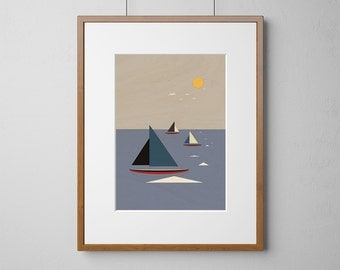 Boats Sailing The Sea Art Print | Wood Wall Art | Birch Wood |  A3 or 12 x 16 Inch | Free Shipping Worldwide