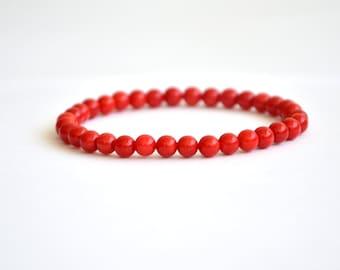 Red coral bracelet (5mm)