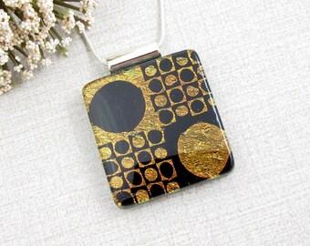 Black and Copper Fused Dichroic Necklace - Geometric Glass Pendant - Glass Circle Design Pendant