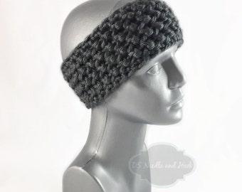 Gray Crochet Headband, Chunky Sark Gray Ear Warmer, Charcoal Knit Head Wrap, Grey Winter Headband, Head Warmer,