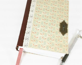 Keyhole Writing Journal-Lined Pages-Diary/Notebook-Upcycled Book-bee-beehive-thick journal-400 pages- gift for writers-gift for her