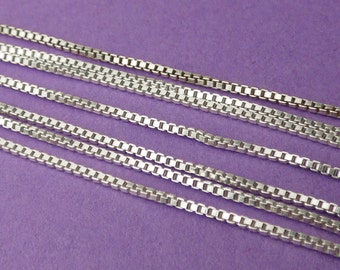 New 24in/610mm 21ga 925 Sterling Silver Loose Unfinished Box Link Chain