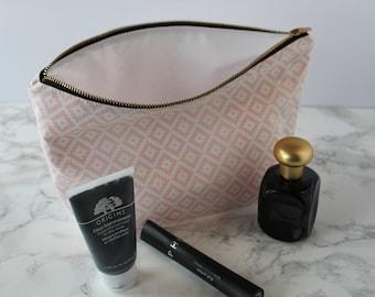Pink Makeup Bag, Navajo, Geometric, Print,  Waterproof Cosmetic Bag, Travel Bag, Make Up Bag, Pink Toiletry Bag