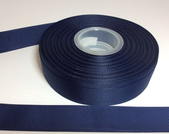 Navy blue ribbons  7/8  inch Grosgrain ribbon, blue grosgrain, choose your yardage from the drop down box