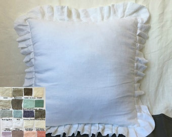Pleated uffle pillow covers, linen ruffle pillow covers, accented pillow covers, sham covers, pillow protector, over 41 colors and patterns