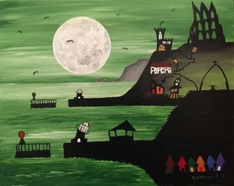 Whitby Harbour (Green) original painting .Whitby, Moon, Quirky, quirkyart, whitbyharbour, whitbyabbey, original, painting, art