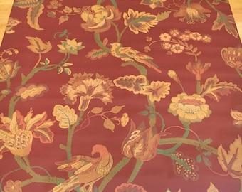 Vintage Wallpaper Burgundy Red Gold Floral Leaves Vines
