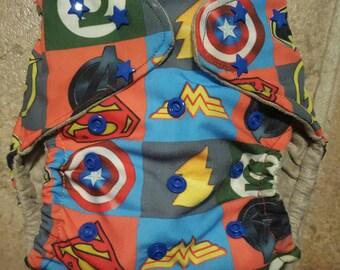 medium superhero pocket cloth diaper