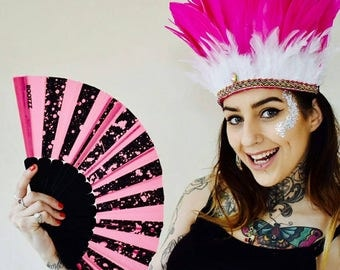 Pink and White Festival Feather Headdress